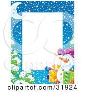 Stationery Border Of A Crescent Moon Flocked Tree Snow And Snowman Carrying Gifts With A White Space For Text