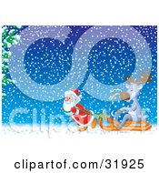 Clipart Illustration Of St Nick Sweating While Struggling To Pull A Reindeer And Toy Sack On A Sled Through A Snowy Winter Night