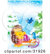 Clipart Illustration Of A Hedgehog Standing By A Toy Sack On A Sled Talking To Two Bluebirds On A Snowy Day
