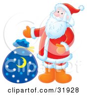Clipart Illustration Of Santa Gesturing Towards A Blue Toy Sack With A Crescent Moon And Star Pattern