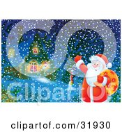 Clipart Illustration Of Santa Claus Waving And Carrying A Sack Of Toys Standing Near A Snowman In Front Of A Home On A Snowy Christmas Eve