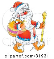 Clipart Illustration Of St Nick Carrying His Sack Over His Shoulder And Using A Cane Walking Through Snow