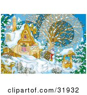Clipart Illustration Of A Snowman Near A Well Outside A Home In The Winter