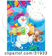 Clipart Illustration Of A Brown Puppy Running Along An Ice Skating Snowman Carrying Presents