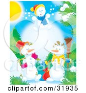 Clipart Illustration Of A Leaping Snow Child Above To Snowmen Outdoors Near Trees On A Sunny Day