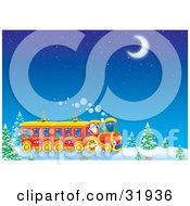Clipart Illustration Of Santa Claus Driving A Train Through A Snowy Landscape With Trees Under A Starry Night Sky With A Crescent Moon