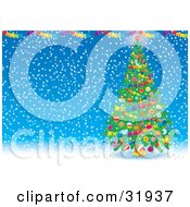 Clipart Illustration Of A Decorated Christmas Tree With Garlands And Ornaments Under Colorful Banners On A Blue Snowing Background