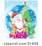 Clipart Illustration Of St Nick Sitting On A Sack Holding A Golden Staff And Gesturing To A Christmas Tree Growing Money On It On A Snowing Blue Background by Alex Bannykh