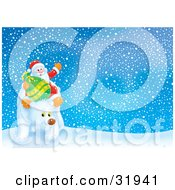 Clipart Illustration Of Kris Kringle And A Toy Sack Riding On A Polar Bear Through The Arctic On A Snowy Night by Alex Bannykh