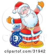 Clipart Illustration Of Kris Kringle Holding His Arms Open Wide And Standing In Front Of His Toy Sack