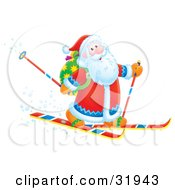 Clipart Illustration Of Santa Smiling While Skiing With Poles And A Toy Sack On His Back
