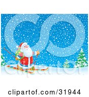 Clipart Illustration Of Kris Kringle Skiing With A Toy Sack On His Back Through A Snowy Winter Landscape by Alex Bannykh