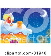 Clipart Illustration Of Kris Kringle Carrying A Toy Sack Near A Chimney On A Roof On Christmas Eve Snow Falling From The Sky And A Crescent Moon