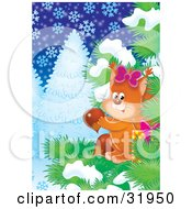 Clipart Illustration Of A Female Squirrel Wearing A Bow Gathering Acorns In An Evergreen Tree Against A Snowing Winter Background