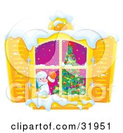 Clipart Illustration Of Kris Kringle Standing By A Christmas Tree And Waving Out Through A Window With Shutters