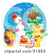 Clipart Illustration Of An Owl Snowman Rabbit And Hedgehog Gathered Near A Flocked Tree And Toy Sack On A Sled On A Snowy Day by Alex Bannykh