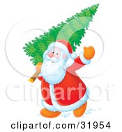 Clipart Illustration Of Santa Waving While Carrying A Fresh Cut Christmas Tree Over His Shoulder