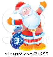 Clipart Illustration Of Kris Kringle Standing In Front Of A Toy Sack And Holding His Arms Open Wide