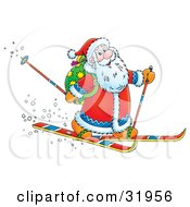 Clipart Illustration Of Kris Kringle Smiling While Skiing With Poles And A Toy Sack On His Back by Alex Bannykh