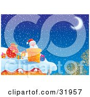 Clipart Illustration Of Father Christmas Peeking Out Of A Chimney On A Snowy Winter Night Under A Crescent Moon While Delivering Gifts On Christmas Eve