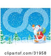 Clipart Illustration Of Kris Kringle Walking Past Trees In A Snowy Landscape Waving And Carrying A Sack Of Toys Over His Shoulder