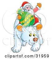 Clipart Illustration Of Kris Kringle Waving While Riding On The Back Of A Friendly Polar Bear by Alex Bannykh