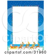 Clipart Illustration Of A Vertical White Stationery Space Bordered By Blue Skies With Snow Baubles And Santa His Sleigh And Reindeer