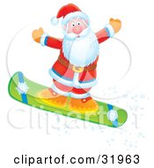 Clipart Illustration Of Father Christmas Holding His Arms Out To Maintain Balance While Catching Air On A Snowboar by Alex Bannykh