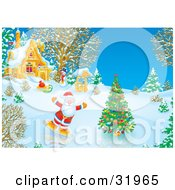 Clipart Illustration Of Father Christmas Ice Skating Around A Christmas Tree On A Frozen Pond Near A House