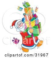 Clipart Illustration Of Father Christmas Looking Back At A Present On The Floor While Carrying A Large Stack Of Gifts