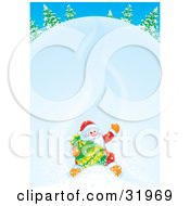 Clipart Illustration Of Father Christmas Holding Onto His Toy Sack And Waving While Sliding Down A Snow Covered Hill by Alex Bannykh