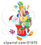 Clipart Illustration Of Santa Looking Back At A Present On The Floor While Carrying A Large Stack Of Gifts