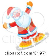 Clipart Illustration Of Father Christmas Holding His Arms Out Wide While Ice Skating
