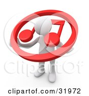 Clipart Illustration Of A White Person Carrying A Red Circle With A Music Note Over His Shoulders