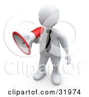 Clipart Illustration Of A White Businessman Speaking Through A Red And White Megaphone Symbolizing Attention And Announcements by 3poD