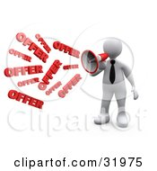 Clipart Illustration Of A White Person Shouting OFFER Through A Megaphone Symbolizing Job Opportunities And Sales by 3poD