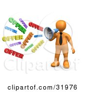 Clipart Illustration Of A Orange Person Shouting OFFER Through A Megaphone Symbolizing Job Opportunities And Sales by 3poD