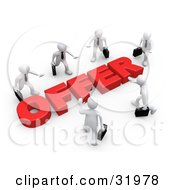 Clipart Illustration Of Competitive White Businessmen Carrying Briefcases Walking In Towards A Red Offer Symbolizing Job Searching And Competition