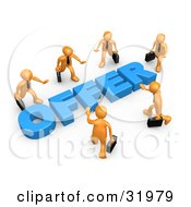 Clipart Illustration Of Competitive Orange Businessmen Carrying Briefcases Walking In Towards A Blue Offer Symbolizing Job Searching And Competition