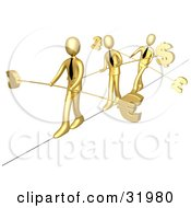 Three Gold Business People Walking Across A Tightrope With Bars And Euro Pounds And Dollars At The Ends