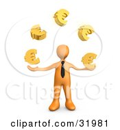 Orange Businessman Standing And Juggling Golden Euro Signs Symbolizing Success