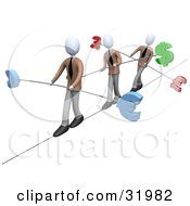 Three White Business People Walking Across A Tightrope With Bars And Euro Pounds And Dollars At The Ends