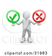 Clipart Illustration Of A White Person Holding His Arms Out With A Green Check Mark And A Red X In His Hands Symbolizing Approval And Denial