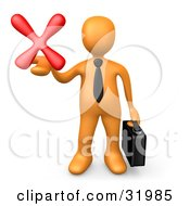 Orange Businessman Carrying A Briefcase And Holding Out A Red X Mark In His Hand Symbolizing Denial And Failure