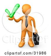 Clipart Illustration Of An Orange Business Man Carrying A Briefcase And Holding A Green Check Mark Symbolizing Solutions And Approval by 3poD