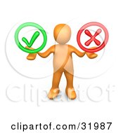 Orange Person Holding His Arms Out With A Green Check Mark And A Red X In His Hands Symbolizing Approval And Denial by 3poD