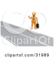 Clipart Illustration Of An Orange Businessman Carrying A Briefcase Hitchhiking Roadside Symbolizing The Road To Success