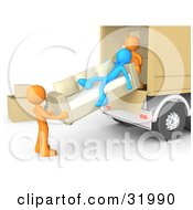 Poster, Art Print Of Clipart Illustration Of A Blue Person Slacking On A Couch While Two Orange Workers Load A Sofa Into A Moving Truck Symbolizing Laziness And Poor Teamwork