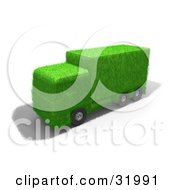 Clipart Illustration Of A Big Rig Truck Made Of Green Grass Symbolizing Eco Friendly Transportation