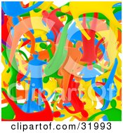 Clipart Illustration Of A Background Of Diverse Blue Red Orange Green And Yellow People Mixed In Together Symbolizing Over Population And Diversity